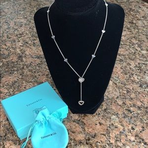 Tiffany & Co Silver Multi Heart Lariat Necklace.